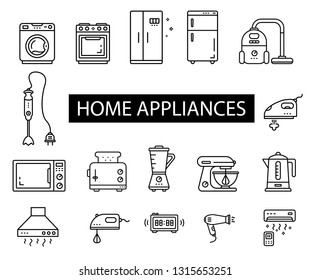 Home appliances icons set.  Electrical household items: washer, stove,  blender, refrigerator, vacuum cleaner, mixer, microwave, toaster, Air conditioner, hair dryer, сooker hood, electric kettle