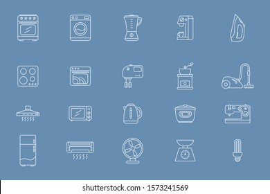 Home appliances Icons set - Vector outline symbols of home and kitchen machines for the site or interface