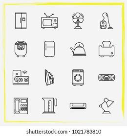 Home Appliances line icon set fan, iron and washing machine