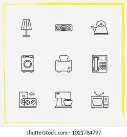 Home Appliances line icon set audio system , coffe maker and tv set