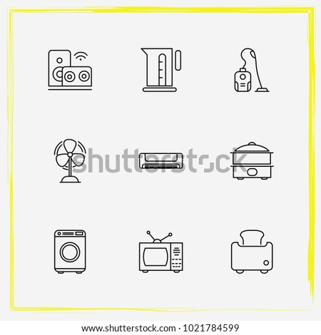 Brilliant Home Appliances Line Icon Set Vacuum Stock Vector Royalty Free Wiring Cloud Hisonuggs Outletorg
