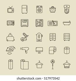 Home appliances minimalistic flat line stroke set