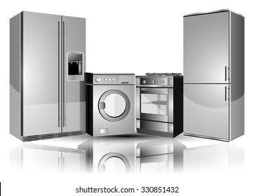 Home appliances: a refrigerator, washing machine, stove.