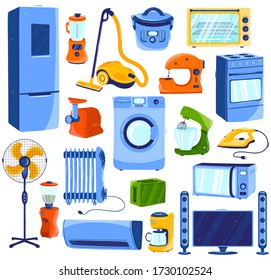 Home appliances, set of household electronics isolated on white, cartoon style vector illustration. House appliance and kitchen equipment, washing machine, microwave oven, vacuum cleaner and fridge