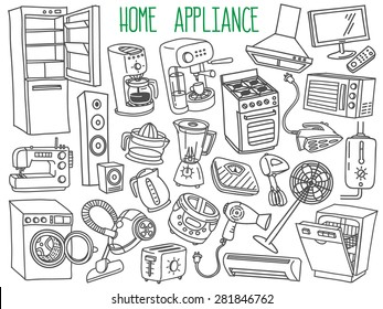 Home appliances themed doodle set. Various household equipment and facilities - major and small  appliances, consumer electronics, kitchenware. Freehand vector sketches isolated over white background.