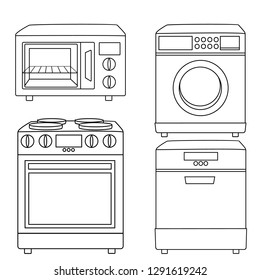Home Appliances Vector Drawings Black and White Coloring Pages. Cartoon Illustration of Microwave , Washing Machine, Stove and Dishwasher Machine on a White Background
