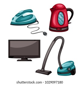 Home Appliances Vector Drawings. Cartoon Illustration of Electric Iron, Vacuum Cleaner, TV and Electric Kettle on a White Background