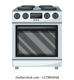 Home Appliances Vector Drawings. Cartoon Illustration of a Stove on a White Background