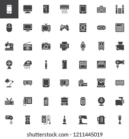 Home appliances vector icons set, modern solid symbol collection, filled style pictogram pack. Signs, logo illustration. Set includes icons as Tv monitor, fridge, air conditioner, washing machine