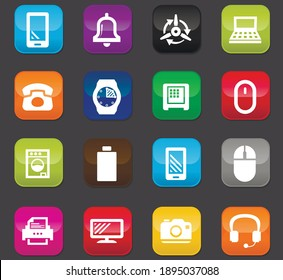 Home appliances vector icons for user interface design. Colored buttons on a dark background