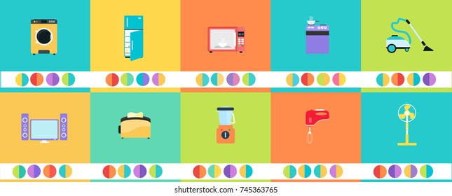 Home appliances vector image all in one