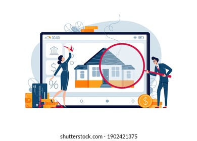 Home appraisal concept. Real estate appraisers are doing property inspection of the house. Real estate assessment, valuation, fixing of value for banner, web, emailing. Flat design vector illustration
