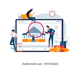 Home appraisal process vector illustration. House owners await an assessment results while inspector is doing real estate estimation. Time of property appraisal process concept. Flat style