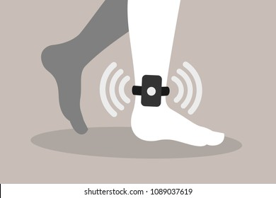 Home arrest - criminal, convict and prisoner is monitored by electronic and technologic device on the ankle and foot. Altenative punishment and sentencing. Vector illustration.
