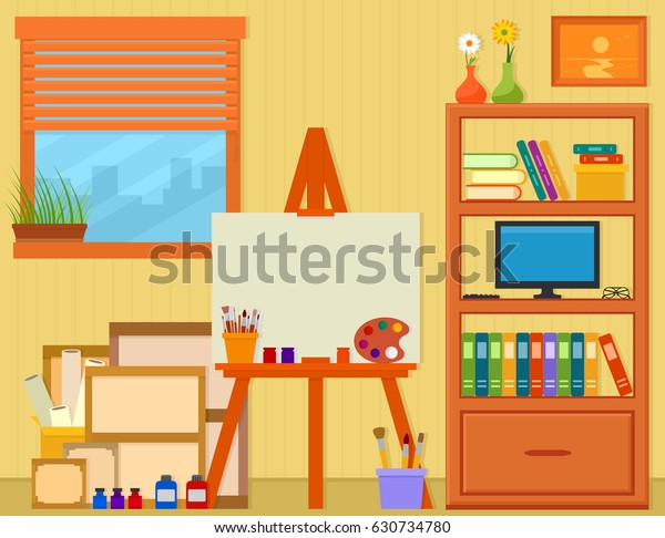 Home Art Studio Easel Painting Tools Stock Vector Royalty
