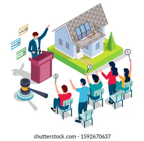 Home auction, vector illustration. Isometric residential house building, auctioneer with gavel and people with bid paddles. Auction and bidding composition for web banner, website page etc.