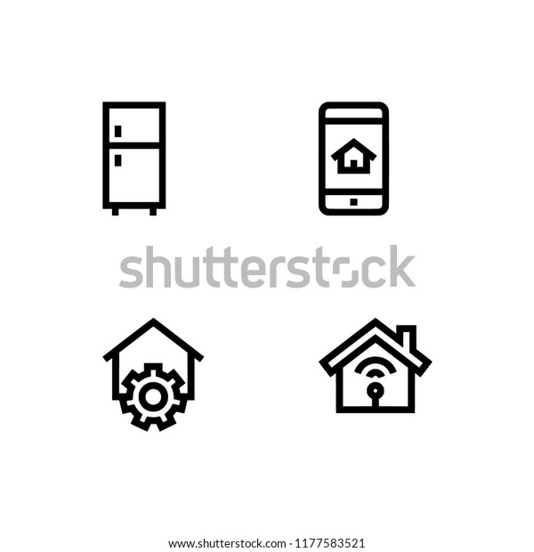 Home Automation Smart House Basic Straight Stock Vector (Royalty