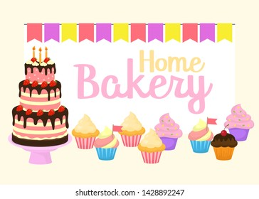 Home bakery vector illustration of birthday cake, capcake and sweets . Colorful party flags and letters. Design idea for poster, cards and advertisment.