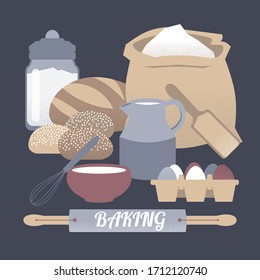 Home baking illustration with milk decanter, rolling pin, flour, sugar container and eggs. Great for bakery, grocery stores, organic shops, food label design.