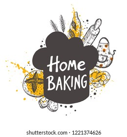 Home baking. Lettering. Hand drawn vector illustration. Can be used for badges, labels, logo, bakery, street festival, farmers market, country fair, shop, kitchen classes, cafe, food studio.