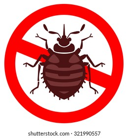 Home bedbug vector illustration - set of household pests in pure style