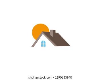 Home and big sun house, Zuhause und Haus mit Sonne
