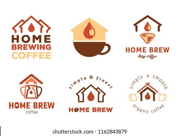 home brewing coffee badge design with home icon vector illustration