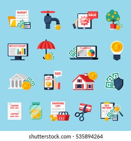 Home budget icons set with counting money symbols on blue background flat isolated vector illustration