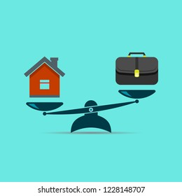 Home and business scales icon. Weight between work, money and your family. Career and family are on the scales. Balance your life business concept. Family or money. Vector isolated illustration.