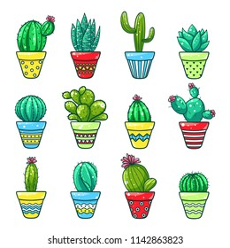 Home cactus set. Green plants grown in bright pots indoors. Vector flat style cartoon decorative cactus illustration isolated on white background