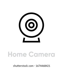 Home Camera icon. Editable Vector Outline. Black and white Single Pictogram trendy simple symbol videographing.