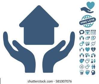 Home Care Hands icon with bonus decorative pictograms. Vector illustration style is flat iconic cyan and blue symbols on white background.