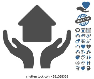 Home Care Hands pictograph with bonus passion images. Vector illustration style is flat iconic cobalt and gray symbols on white background.