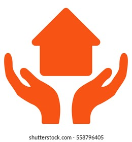Home Care Hands vector icon. Flat orange symbol. Pictogram is isolated on a white background. Designed for web and software interfaces.