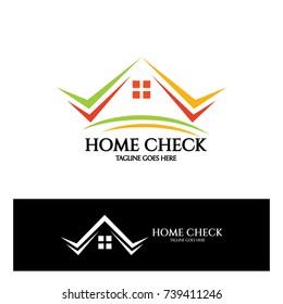 Home check logo design template. Vector illustration