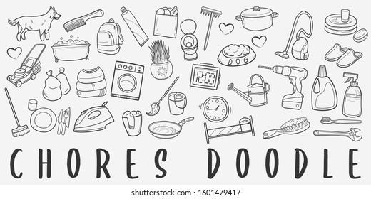 Home Chores Doodle Line Art Illustration. Hand Drawn Vector Clip Art. Banner Set Logos.