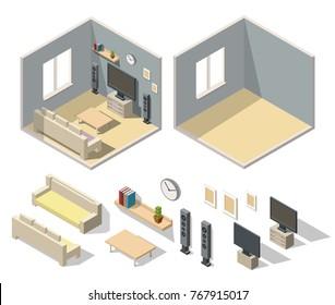 Home cinema room interior isometric set