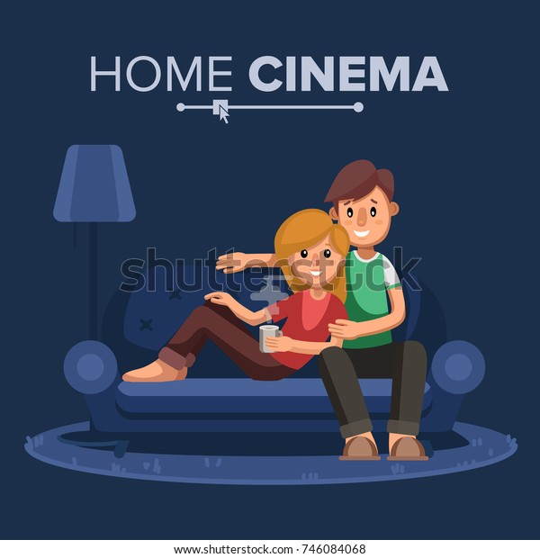 Home Cinema Vector Home Room Tv Stock Vector (Royalty Free