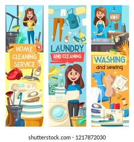 Home cleaning banners for laundry, dish washing and sewing service. Vector cartoon design of woman mopping floor or clean glass mirror, vacuum cleaner and needlework sewing machine