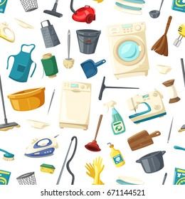 Home cleaning, cooking and laundry seamless pattern, Vector kitchen dishware and utensils, washing and sewing machine, detergent or duster scoop and water bucket with mop and iron, grater or thread