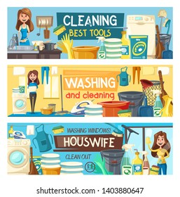 Home cleaning and housewife service banners. Vector house laundry, dishwashing or floor mopping and clean kitchen service, professional housekeeping, clothing ironing and windows washing