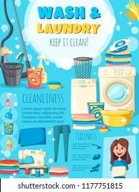 Home cleaning and laundry poster of woman with washing machine and sewing needlework. Vector housewife with vacuum cleaner, sponge and polisher or iron, detergent soap and mop or broom