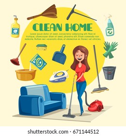 Home cleaning poster with clean room and washing appliances or chemicals. Vector woman mopping flat floor with vacuum cleaner, water bucket or detergent and bathroom plunger, dust scoop or duster