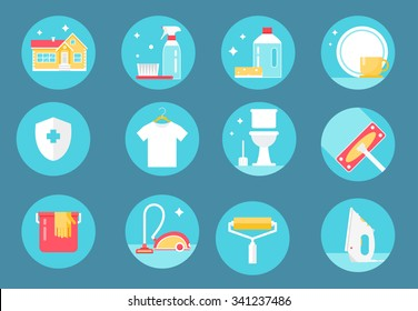 Home Cleaning Service, Agents and Tools Round Icons Set. Flat Design