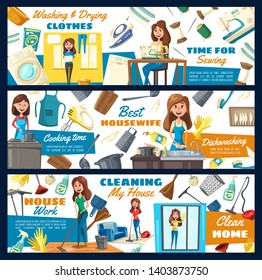 Home cleaning service, laundry and dishwashing, home needlework. Vector professional housewife and housekeeping service, floor mopping and window glass polishing, clothes ironing and sewing