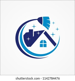 Home cleaning service logo, real estate property clean vector
