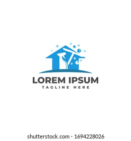 Home Cleaning Service with Spray Bottle Logo Vector Icon Illustration