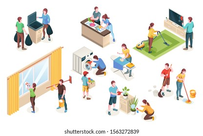Home cleaning, vector isolated icons of man and woman couple clean house together. Laundry and dish washing at kitchen, watering flowers and cleaning windows, mopping floor and ironing