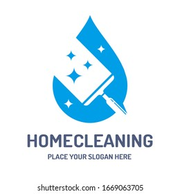 Home cleaning vector logo template. This design use water drop and glass wiper. Suitable for maintenance