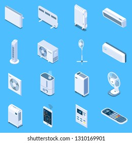 Home climate control isometric icons with floor table and tower fans air conditioner heat curtain electric and oil heaters isolated vector illustration